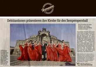 Dieses Jahr tragen die Debütantinnen zum ersten Mal einheitliche Kleider vom Dresdner Modemacher Uwe Herrmann, der auch Schmuck und Diadem dazu entworfen hat - Hochzeitsmode Dresden - Uwe Herrmann