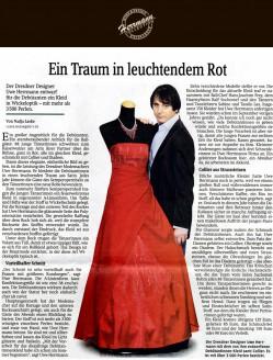 Der Dresdner Designer Uwe Herrmann entwarf für die Debütanten ein Kleid in Wickeloptik – mit mehr als 3500 Perlen - Hochzeitsmode Dresden - Uwe Herrmann