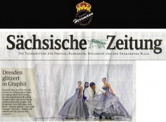 Die von Uwe Herrmann entworfenen Debütantinnen-Kleider für den SemperOpernball 2014 werden auf der Titelseite der Sächsischen Zeitung vorgestellt - Hochzeitsmode Dresden - Uwe Herrmann