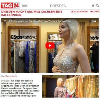 Tag24: DRESDEN MACHT AUS MISS SACHSEN EINE BALLKÖNIGIN - Hochzeitsmode Dresden - Uwe Herrmann