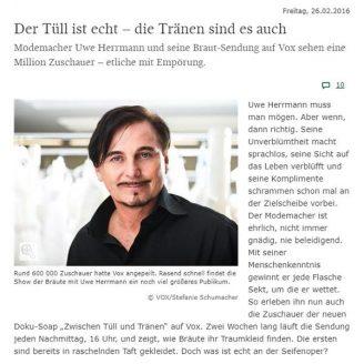 SZ: Der Tüll ist echt – die Tränen sind es auch - Hochzeitsmode Dresden - Uwe Herrmann