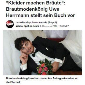 """Yahoo: """"Kleider machen Bräute"""": Brautmodenkönig Uwe Herrmann stellt sein Buch vor - Hochzeitsmode Dresden - Uwe Herrmann"""