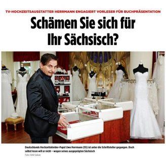 Bild: TV-HOCHZEITSAUSSTATTER HERRMANN ENGAGIERT VORLESER FÜR BUCHPRÄSENTATION Schämen Sie sich für Ihr Sächsisch? - Hochzeitsmode Dresden - Uwe Herrmann