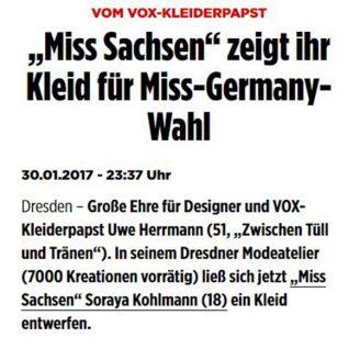 """Bild: VOX-KLEIDERPAPST """"Miss Sachsen"""" zeigt ihr Kleid für Miss-Germany-Wahl - Hochzeitsmode Dresden - Uwe Herrmann"""