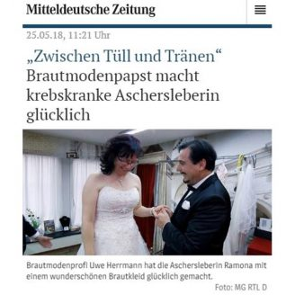 """MZ: """"Zwischen Tüll und Tränen"""" Brautmodenpapst macht krebskranke Aschersleberin glücklich - Hochzeitsmode Dresden - Uwe Herrmann"""