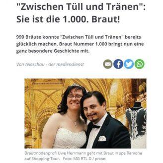 """Stimme: """"Zwischen Tüll und Tränen"""": Sie ist die 1.000. Braut! - Hochzeitsmode Dresden - Uwe Herrmann"""