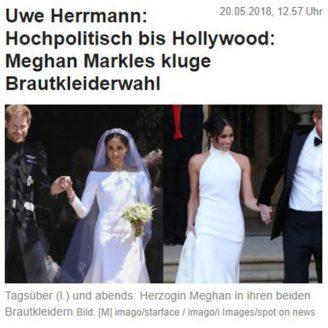 News: Hochpolitisch bis Hollywood: Meghan Markles kluge Brautkleiderwahl - Hochzeitsmode Dresden - Uwe Herrmann