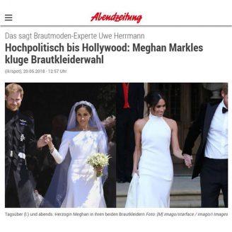 Abendzeitung München: Das sagt Brautmoden-Experte Uwe Herrmann Hochpolitisch bis Hollywood: Meghan Markles kluge Brautkleiderwahl - Hochzeitsmode Dresden - Uwe Herrmann