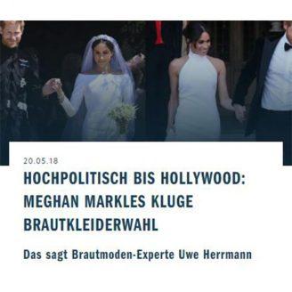 Trendyone: HOCHPOLITISCH BIS HOLLYWOOD: MEGHAN MARKLES KLUGE BRAUTKLEIDERWAHL - Hochzeitsmode Dresden - Uwe Herrmann